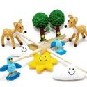 horgolt erdei babaforgó - gyerekszoba dekoráció, Baba-mama-gyerek, Dekoráció, Gyerekszoba, Mobildísz, függődísz, Postázásra kész. Horgolt erdei babaforgó, gyerekszoba dekoráció, őzikével, fával, felhővel, madárral..., Meska