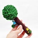 horgolt fa csörgő madárral és virággal - babajáték, 100% pamut fonalból horgolt fa csörgő zöld és...