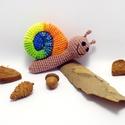 horgolt csiga csörgő / türkizkék, narancssárga, sárga színekben, 100% pamut fonalból horgolt mosolygó csiga csör...