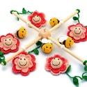 méhes babaforgó rózsaszín virágokkal - horgolt gyerekszoba dekoráció, Baba-mama-gyerek, Dekoráció, Gyerekszoba, Mobildísz, függődísz, Postázásra kész. Horgolt méhes babaforgó, gyerekszoba dekoráció, rózsaszín virágokkal. A babaforgó a..., Meska