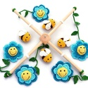 méhes babaforgó kék virágokkal - horgolt gyerekszoba dekoráció, Baba-mama-gyerek, Dekoráció, Gyerekszoba, Mobildísz, függődísz, Postázásra kész. Horgolt méhes babaforgó, gyerekszoba dekoráció, kék virágokkal. A babaforgó alapja ..., Meska