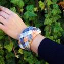 kötött, fonott  karkötő pasztell narancssárga, szürke és nyers fehér színekben (habcsi) - Meska.hu