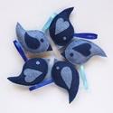 -50% Akció - Kék madár tavaszi, húsvéti, Anyák napi dekoráció gyapjúfilcből, Dekoráció, Húsvéti díszek, Anyák napja, Ünnepi dekoráció, Sötétkék és világoskék gyapjúfilc anyagból, teljes egészében kézzel varrtam ezeket a kedves kis kék ..., Meska