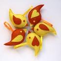 -50% Akció - Sárga-narancssárga madár tavaszi, húsvéti, Anyák napi dekoráci gyapjúfilcből, Húsvéti díszek, Dekoráció, Anyák napja, Ünnepi dekoráció, Sárga és narancssárga gyapjúfilc anyagból, teljes egészében kézzel öltögettem ezeket a kedves kis ta..., Meska