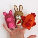 Nyuszi-malac-kiskakas filc ujjbáb, Baba-mama-gyerek, Játék, Készségfejlesztő játék, Báb, Nyuszi, malac, kiskakas ujjbábok.   Minőségi gyapjúfilcből, aprólékosan kidolgozva teljes egészében ..., Meska