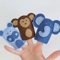 Víziló, majom, elefánt filc ujjbábok, Baba-mama-gyerek, Játék, Báb, Készségfejlesztő játék, Víziló, majom, elefánt filc ujjbábok.  Kiváló minőségű gyapjúfilc anyagból, minden részletet aprólék..., Meska