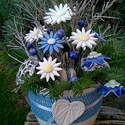""", Kéken Tündöklő """"Kerámia Virágok Vázával, Otthon, lakberendezés, Kaspó, virágtartó, váza, korsó, cserép, Kerámia, Virágkötés, Ha valami igazán különleges csokrot szeretnél! Fehér agyagból kézzel készített mázas kerámia virágo..., Meska"""