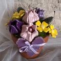 """,Kis Tulipános """" Krerámia Asztaldísz, Dekoráció, Otthon, lakberendezés, Kaspó, virágtartó, váza, korsó, cserép, Kerámia, Virágkötés, Fehér agyagból aprólékos kézi munkával készítettem ezeket a mázas kerámia virágokat és leveleket me..., Meska"""