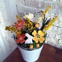 """,Mimóza  Kerámia Virágokkal """"Asztaldísz, Otthon, lakberendezés, Kaspó, virágtartó, váza, korsó, cserép, Kerámia, Virágkötés,  Legyen  feladat az asztal dekorálása  vagy éppen egy névnapi köszöntés ez a kis kompozíció bármely..., Meska"""