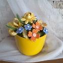 """,Akciós Sárga"""" Kerámia Virágos Asztaldísz, Otthon, lakberendezés, Kaspó, virágtartó, váza, korsó, cserép, Kerámia, Virágkötés,  Legyen  feladat az asztal dekorálása  vagy éppen egy névnapi köszöntés ez a kis kompozíció bármely..., Meska"""