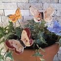 4db  Kerámia  Pillangó /tp.58/, Esküvő, Otthon, lakberendezés, Dekoráció, Esküvői dekoráció, Kerámia, Virágkötés, Fehér agyagból aprólékos kézi munkával készült mázas kerámia pillangók festett rozsdamentes drótszá..., Meska