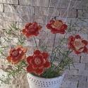 5db  Piros Cirmos  Mázas Kerámia Virág (tp.10), Esküvő, Otthon, lakberendezés, Dekoráció, Esküvői dekoráció, Kerámia, Virágkötés, Szedj egy csokrot a virágos kertemből!Állítsd össze a saját csokrod! Tedd kosárba valamelyik összeá..., Meska