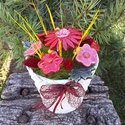 """,Piroska""""Kerámia Virágos Asztaldísz, Otthon, lakberendezés, Kaspó, virágtartó, váza, korsó, cserép, Kerámia, Virágkötés,  Legyen  feladat az asztal dekorálása  vagy éppen egy névnapi köszöntés ez a kis kompozíció bármely..., Meska"""
