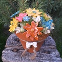 """Akciós!,Sárga Szín-Harmónia""""Kerámia Virágos Asztaldísz, Otthon, lakberendezés, Kaspó, virágtartó, váza, korsó, cserép, Asztaldísz, Kerámia, Virágkötés, Fehér agyagból aprólékos kézi munkával készült mázas kerámia virágok,pillangók és bogyók festett dr..., Meska"""