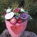 """,Púder Színű""""Kerámia Rózsa Csokor, Otthon, lakberendezés, Kaspó, virágtartó, váza, korsó, cserép, Asztaldísz, Kerámia, Virágkötés, Fehér agyagból aprólékos kézi munkával készült mázas kerámia rózsák festett drótszáron.. Száraz vir..., Meska"""
