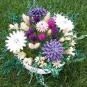 """,Nagy Lila Harmónia""""Kerámia Virágos Asztaldísz, Dekoráció, Otthon, lakberendezés, Kaspó, virágtartó, váza, korsó, cserép, Asztaldísz, Kerámia, Virágkötés, Aprólékos kézi munkával fehér agyagból készítettem ezeket a kis  mázas kerámia virágokat  és levele..., Meska"""