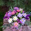 """, Lila Harmónia"""" Kerámia Virágos Asztaldísz, Dekoráció, Otthon, lakberendezés, Kaspó, virágtartó, váza, korsó, cserép, Asztaldísz, Kerámia, Virágkötés, Különleges csokor, neked vagy ajándéknak!Aprólékos kézi munkával fehér agyagból készítettem ezeket ..., Meska"""