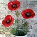 3 db Kerámia Pipacs Levéllel (tp.31), Dekoráció, Otthon, lakberendezés, Dísz, Kaspó, virágtartó, váza, korsó, cserép, Kerámia, Virágkötés, Mezei Virágok Királynéja!Mint már oly sokunkat itt a Meskán engem is meg ihletett  a  pipacs a szép..., Meska