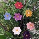7db Mázas Kerámia  Kerámia Virág/Tp.59/, Esküvő, Otthon, lakberendezés, Dekoráció, Esküvői dekoráció, Kerámia, Virágkötés, Fehér agyagból aprólékos kézi munkával készült 2 x egetett mázas kerámia virágok.Kerti vagy lakás d..., Meska