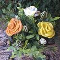 """,Sárgarózsa""""Kerámia Asztaldísz, Otthon, lakberendezés, Dekoráció, Kerti dísz, Fehér agyagból aprólékos kézi munkával készíttem ezeket a mázas kerámia virágokat.Maradan..., Meska"""