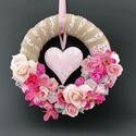 Kopogtató, Otthon & Lakás, Dekoráció, Ajtódísz & Kopogtató, Virágkötés, Ezt a rózsaszín kopogtatót 25cm-es alapra készítettem. Rózsaszín szerelmeseinek ajánlom. Igazi nyár..., Meska