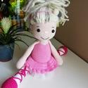 Horgolt balerina, baba, Amalou mintája alapján horgolt balerina baba, me...