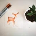 Bambi filc és pasztelkréta rajz (print), Képzőművészet, Illusztráció, Fotó, grafika, rajz, illusztráció, A nyomat eredetije  ecsetfilccel és pasztellkrétával készült 300 g-os művészpapírra.  A print A/4-e..., Meska