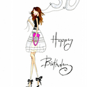 Divatilluszrációs kép - Happy Birthday 30's, Képzőművészet, Illusztráció, Fotó, grafika, rajz, illusztráció, A nyomat eredetije ecsetfilccel és pasztellkrétával készült 300 g-os művészpapírra.  A print A/4-es..., Meska