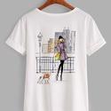 Divatillusztrációs póló- New York-i nő, Ruha, divat, cipő, Női ruha, Felsőrész, póló, Divatillusztrációs póló- New York-i nő  A pólón lévő illusztráció eredetije minőségi ec..., Meska