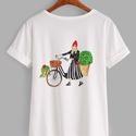 Divatillusztrációs póló- Bicikliző nő, Ruha, divat, cipő, Női ruha, Felsőrész, póló, Divatillusztrációs póló- Bicikliző nő  A pólón lévő illusztráció eredetije minőségi ec..., Meska