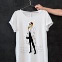Divatillusztrációs póló- Kávézó nő , Ruha, divat, cipő, Női ruha, Felsőrész, póló, Divatillusztrációs póló- kávézó nő  A pólón lévő illusztráció eredetije minőségi ecs..., Meska