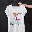 Divatillusztrációs póló- Motorozó nő, Ruha, divat, cipő, Női ruha, Felsőrész, póló, Divatillusztrációs póló- Motorozó nő  A pólón lévő illusztráció eredetije minőségi ecs..., Meska