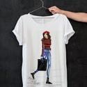Divatillusztráció póló- Piros sapkás nő, Ruha, divat, cipő, Női ruha, Felsőrész, póló, Divatillusztrációs póló- Piros sapkás nő  A pólón lévő illusztráció eredetije minőségi..., Meska