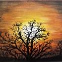 Alkonyat, Művészet, Festmény, Akril, Festészet, Eladásra szántam Alkonyat című akrill festményem, melyet Conda vászonra festettem.  Mérete: 13x18cm..., Meska