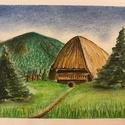Alpesi ház, Művészet, Festmény, Pasztell, Festészet, Alpesi házról készítettem pasztellképet félfamentes rajzlapra, képkeret nélkül szállítom.  A kép mé..., Meska