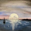 Holdvilág, Művészet, Festmény, Akril, Festészet, Holdvilág című akrill festményem, mely romantikusoknak, álmodozóknak, vagy akinek éppen megtetszik ..., Meska