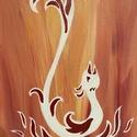 Főnix - kézzel festett akril kép, Művészet, Festmény, Akril, Festészet, Tüzes hangulatú képem a hamvaiból feltámadó Főnixet ábrázolja, akril festékkel festettem vászon táb..., Meska