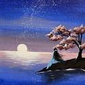 Holdvirág, Művészet, Festmény, Akril, Festészet, A japán stílus iránt érdeklődők számára kézzel festett akril festmény vászon táblácskán. Díszítse a..., Meska