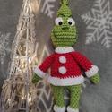 Grincs , Játék & Gyerek, Horgolás, Amigurumi technikával készült egyedi  készítésű horgolt Grincs figura. Gyermekjátéknak, vagy dekorá..., Meska