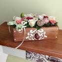 """Vintage asztali virágdísz , Dekoráció, Dísz, Ez az asztali dísz tökéletes ajándék lehet minden alkalomra!  A deszkából készült kis """"fiókot"""" pácol..., Meska"""