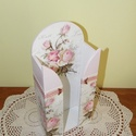 Vintage rózsás fa zsebkendőtartó, akár esküvői dekorációnak is, Otthon, lakberendezés, Dekoráció, Mindenmás, Tárolóeszköz, Álló vagy fali zsebkendőtartó.   Ajándék lehet születésnapra, névnapra, házavatóra, mikul..., Meska
