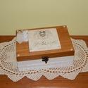 Nászajándék doboz esküvőre -Esküvői doboz, Esküvő, Nászajándék, Decoupage, transzfer és szalvétatechnika, Festett tárgyak, Vintage stílusban készített fadoboz esküvőre, lánybúcsúra, eljegyzésre. Kérhető rekeszekkel (6 reke..., Meska
