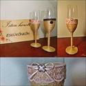 Vintage pezsgőspohár szett esküvőre, Esküvő, Konyhafelszerelés, Bögre, csésze, Esküvői dekoráció, Mindenmás, Vintage, zsákvászon madzaggal díszített pezsgőspohár csipkével és masnival díszítve a házaspárnak. ..., Meska