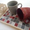 Páros szívek mozaik tálca, borvörös szürke fehér, szerelmes reggeli elegáns kávé és tea kínáló