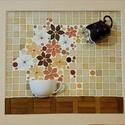 Virágos reggeli kávé - 3D mozaik falikép, A kép kézműves technikával készült.  mérete...