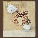 Tejeskávé barna drapp bézs virágos reggeli kávé tea kép - 3D mozaik falikép dekoráció, Otthon & lakás, Dekoráció, Kép, Lakberendezés, Falikép, A kép kézműves technikával készült.  mérete: 50 cm x 45 cm  A minőségi üvegmozaik mellett elegáns po..., Meska