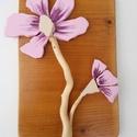 Rózsaszín lila orchidea magnólia virág kavicskép - 3D organikus falikép dekoráció, Otthon & lakás, Dekoráció, Lakberendezés, Falikép, Anyák napja, Ünnepi dekoráció, A kép kézműves technikával készült.  mérete: 17 cm x 26 cm  Rusztikus, csiszolt, kezelt és lakkozott..., Meska