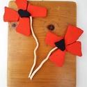 Piros tűzpiros vörös minimál pipacs virág kavicskép - 3D falikép dekoráció