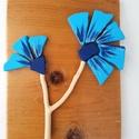 Kék búzavirág kavicskép - 3D  virág falikép dekoráció