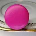 Ciklámen pink préselt valódi bőr gyűrű, Ékszer, Gyűrű, Klasszikus, letisztult darab ez a kellemes, mély pink gombfej betétes gyűrű. Színe erőteljes magenta..., Meska